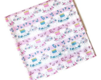 Vintage Wrapping Paper - Happy Birthday Cake - One sheet Gift Wrap - Boy Girl cake Celebration