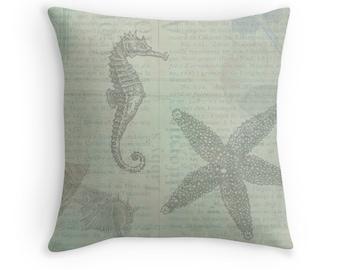 Sea Theme, Ocean Theme, Beach Pillows, Beach Cushions, Beach Decor, Ocean Decor, Shells, Seashells, Sea Stars, Sea Horse, Blue Green Pillow