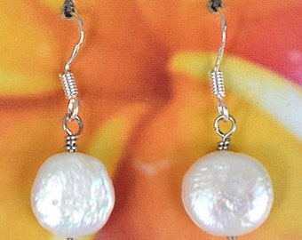 White Coin Pearl Earring, Sterling Silver White Coin Pearl Dangle Earring, Hawaiian Jewelry, E4314, June Birthstone, Birthday Anniversary