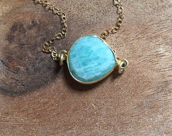 Gold Amazonite Necklace - Amazonite - Amazonite Jewelry - Gemstone Necklace - Gold Necklace - Crystal Healing Necklace