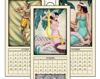 "HALF PRICE  2018 Digital Calendar Printable Downloads 4.8"" X 10"" Vintage  Hawaiian Kane & Wahine 12 Different Images Art Calendar 2018 CAL 5"