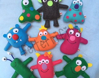 Party Pack- Adopt A Monster  Handmade Stuffed Friends  Choose 6, 8, 10 or 12