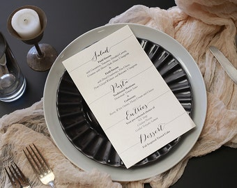 Wedding Reception Menu - Shimmer Paper Menu - Easily Tucked into Napkin