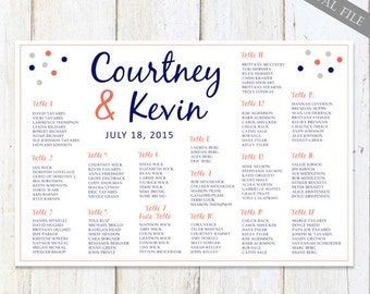 White Navy blue Coral red Wedding Seating Chart - Custom Blue Grey Gray Nautical Bridal Table Seating chart - DIGITAL file!