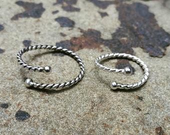Twisted Ring, Adjustable Open Ring, Sterling Silver, Toe Ring, Midi Ring, Thumb Ring, Silver Band, Twisted Band Ring, Boho Rings