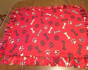 Red fleece dog blanket handmade