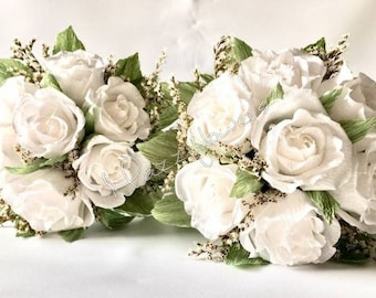 Bridal bouquet,wedding bouquets, paper flowers,bouquet paper flower,rose bouquet,wedding bouquet.roses paper.