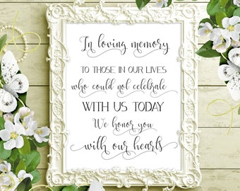 SALE 70% In Loving Memory Sign Printable. Wedding Memorial Sign. Wedding Sign Printable. Wedding Remembrance Sign. In Memory of digital sign