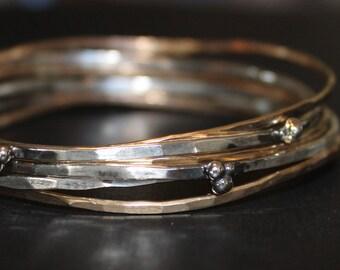 mixed metal stacking bangle - thick silver and gold bangles - rustic stacking bangles - artisan bangle set - gold and silver bangles