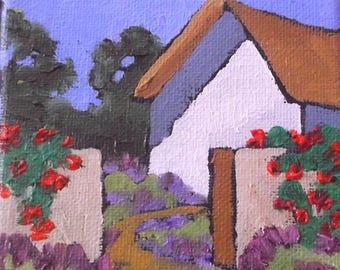 Miniature Impressionist Oil Painting 4x4 Plein Air California FARMHOUSE Garden Landscape Lynne French Art