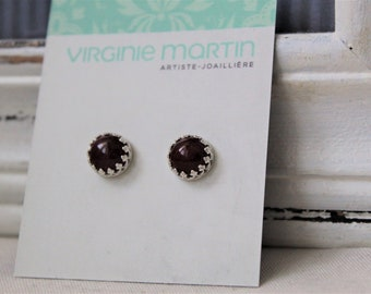 Sterling silver and Burgundy Red Mookaite Studs Earrings - Handmade jewelry