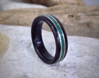 Basilisk - Malachite, Ebony & Sterling Silver Bent Wood Ring - Made to order - All US and UK Ring Sizes