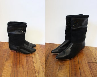 black suede and leather western mid calf boots | 80s made in Spain suede leather boots | size 7.5 8
