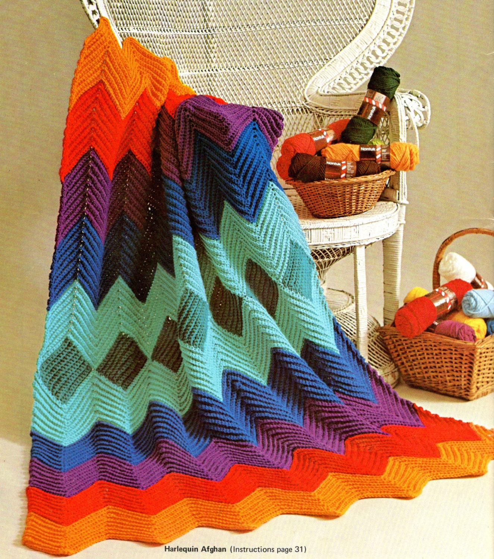 vintage crochet pattern single crochet ripple zig zag afghan