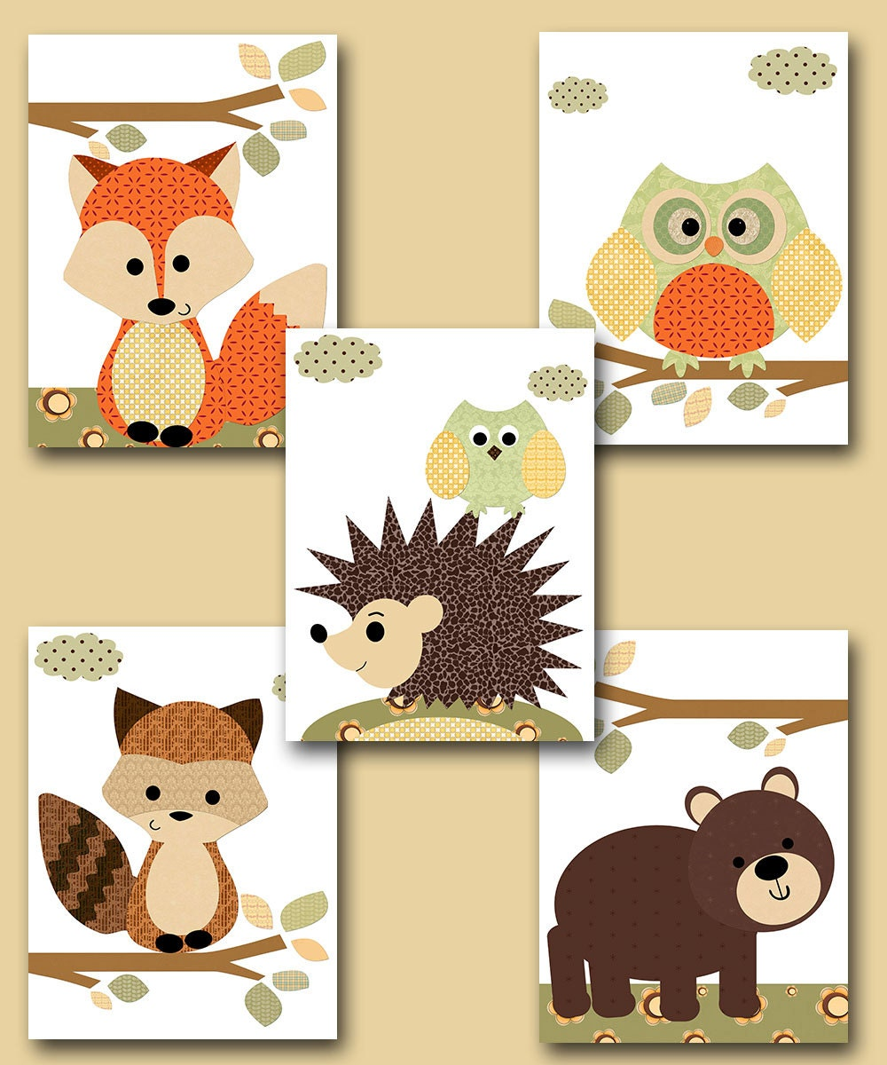 Fox Nursery Owl Nursery Baby Boy Nursery Art Nursery Wall Art