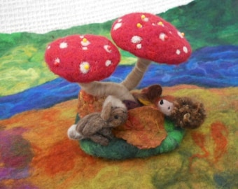 Felted pin cushion, felted red mushrooms, red toadstools, mothers day, mushroom pin cushion, felted leaves, needles and pins, Easter gift