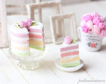 Miniature Food - Dollhouse Pastel Rainbow Cake with Peonies 1/12 Scale