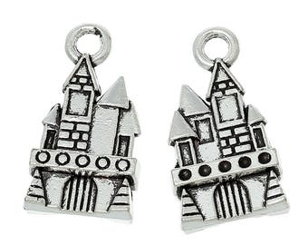 10 Antique Silver Castle Charms 21 x 11mm  (B472a)