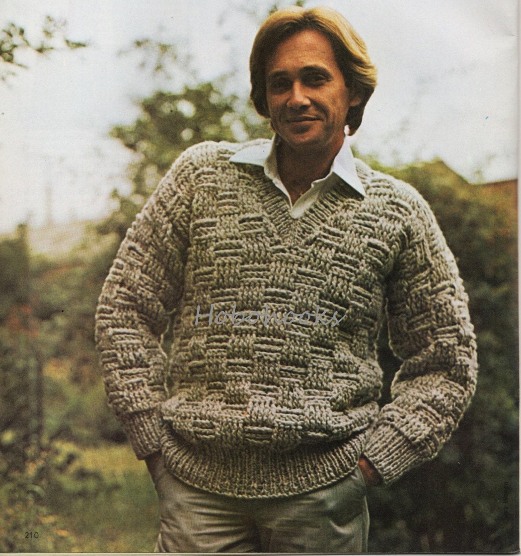 CROCHET PATTERN mens chunky sweater mens jumper v neck basketweave ...