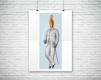 Mr. Carrot Print - Steampunk - Surreal - Vegetables - Whimsical - Rene Magritte - Kitchen Art - Fun - Foodie Gift - Vegetarian Gift