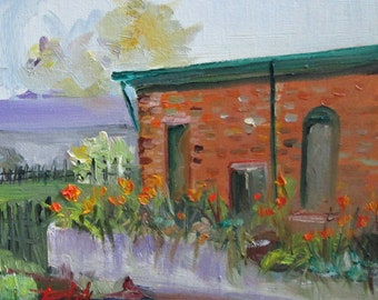 Old Brick Building landscape oil painting plien air Art by Dleilah