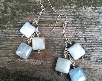Aquamarine & Sterling Silver Wire Wrapped Earrings