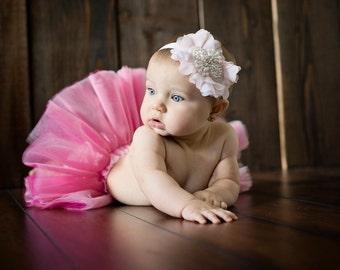 Flower Girl Headband ..  Baptism Headband ..Petals and Pearls .. Shabby Roses Pearls