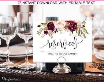 Reserved Sign, Wedding Reserved Table Sign, Reserved Card, Printable Reserved Sign, Burgundy, Marsala, #A047, INSTANT DOWNLOAD, Editable PDF