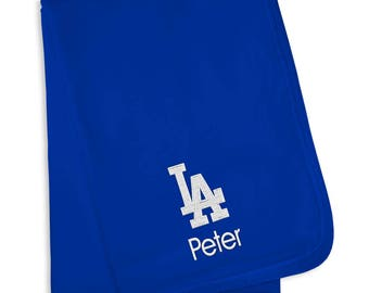 Personalized Los Angeles Dodgers Baby Blanket Royal