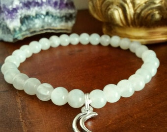 Moonstone Bracelet - Crescent Moon Bracelet with Silver Moon Charm, Genuine Moonstone Beads for Psychic Abilities and New Beginnings