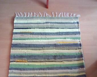 Handwoven Rag Rug Green Scandinavian Style