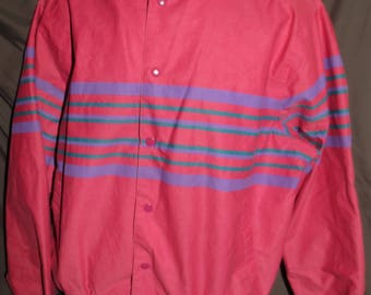 Vintage 80's / 90's Wrangler Western Brushpopper Snap-Up Bomber Jacket Pink with Purple and Green Stripes Size XL