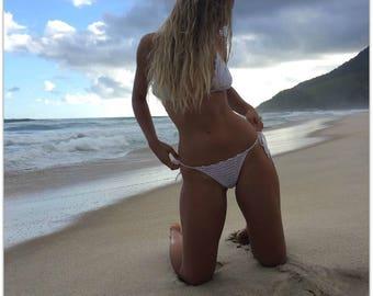 Crochet Bikini, Crochet swimsuit, Brazilian bikini, Swimwear, White Lace bikini, Honeymoon bikini, Maresias Bikini, Bohemian, Clothing