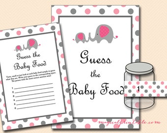 Guess the Baby food game, Pink Elephant Baby Shower Game Pack, Instant Download, Printable Baby Shower Games TLC88