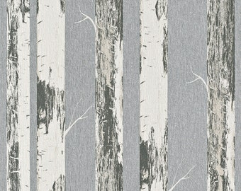 Contemporary Metallic Paper Birch Wallpaper R4368