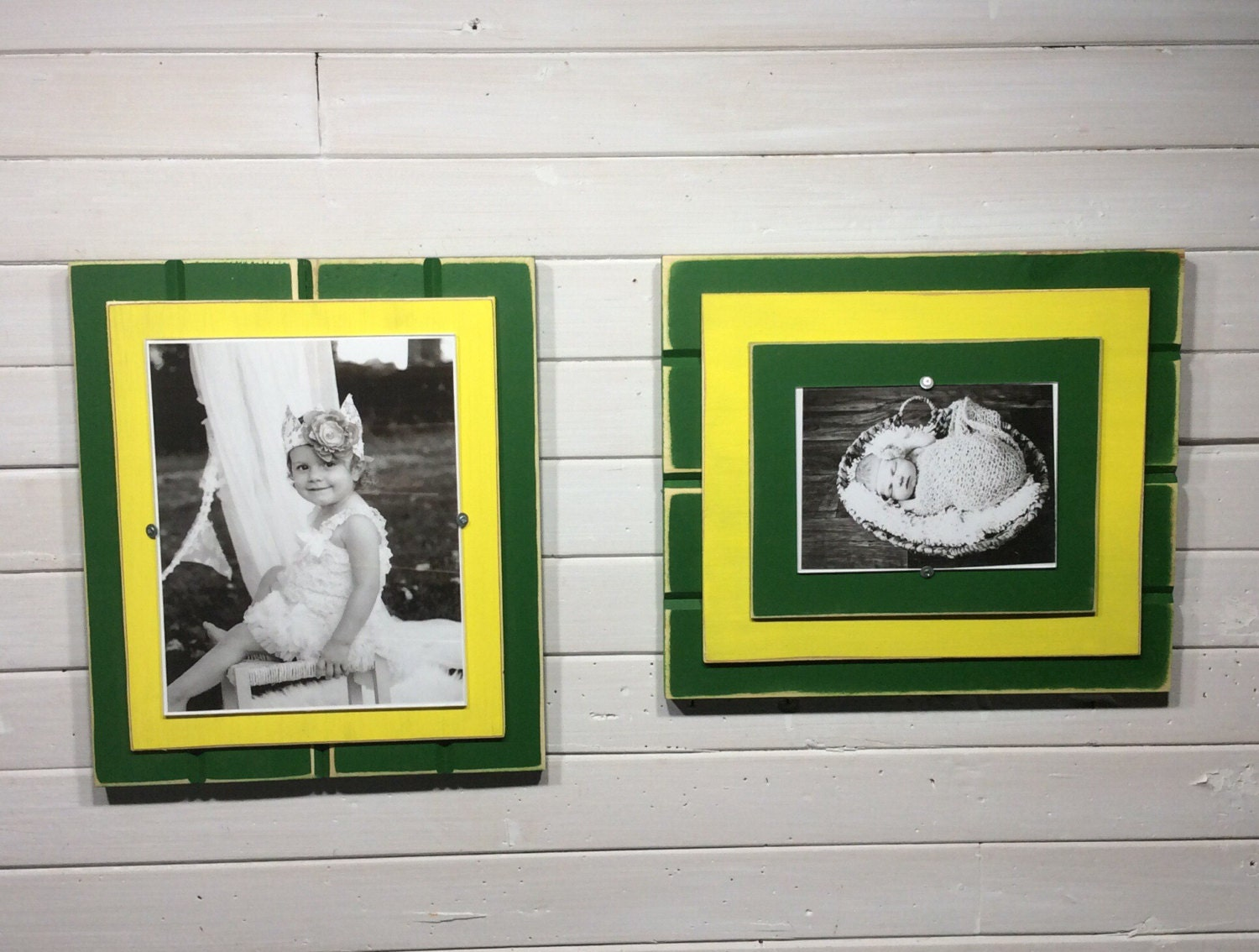 Green and yellow picture frame holds 5x7 or zoom jeuxipadfo Images