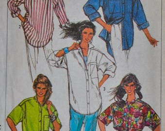 Vintage 1980s Simplicity 7901 Sewing Pattern, Tunic, Shirt Sewing Pattern, Designer Surf Club, Loose Fitting, Size 10 12 14 16,  UNCUT
