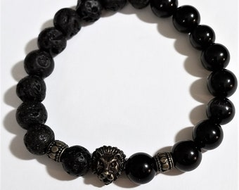 Black Onyx Glossy and Black Lava Rock with Lion Head Bead Bracelet