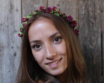 Flowers crown. Red roses.  Hair wreath. Wine-red rosebuds. Polymer clay flowers. Wedding headband Floral Hair Wreaths