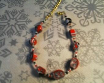 beautiful bracelet handmade, stylish, original (painting black, white and red)