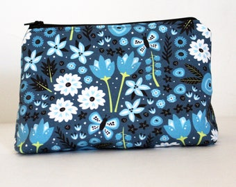 Teal Flowers Floral Zipper Makeup or Pencil Bag | Gifts Under 20 Dollars