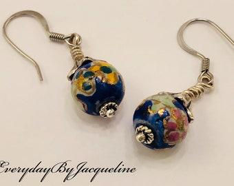 Dainty Oriental Ceramic Earrings with Sterling Silver Earwires