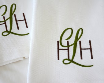 Custom Monogrammed Pique Tea Towel.  Great for Hostess, Wedding or other Gifts.