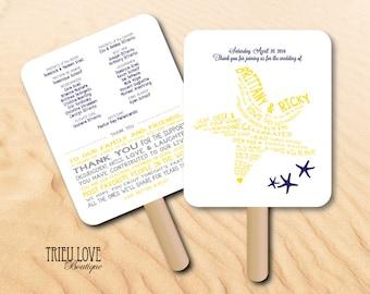 Personalized Starfish | Seaside | Shell | Beach | Nautical | Tropical Wedding Ceremony Program Fan - Digital File