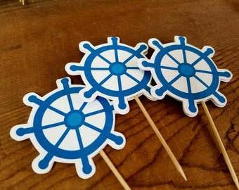 Nautical Birthday Party - Set of 12 Wheel Cupcake Toppers by The Birthday House