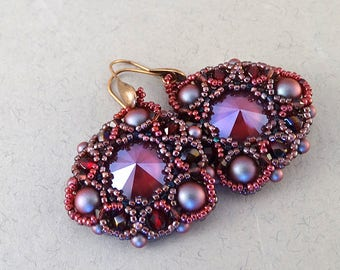 Earrings//Burgundy//Red//Cranberry//Plum//Copper//Free Shipping