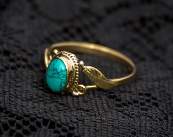 TURQUOISE LEAF GOLD ring indian tribal ethnic bohemian jewelry stacking midi knuckle small feather ring brass gold tone boho BR15T