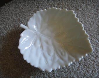 Porcelain Leaf Candy Dish, Vintage White Porcelain Leaf Dish, Nuts, Relish,  Multi
