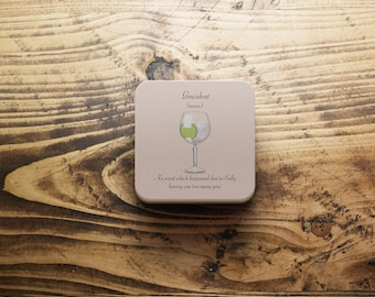 Gin coaster, Personalised gin coaster, G & T coaster, elegant gin coaster, BFF gin gift, Gincident, Gin lover gift, Gin gift for her, gin