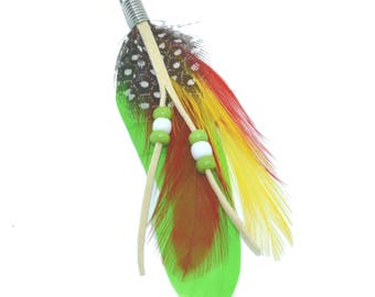 lime green feather pendant with pearls, 8cm